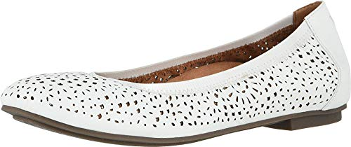 Vionic Women's Spark Robyn Perf Ballet Flat- Supportive Ladies Shoes That Include Three-Zone Comfort with Orthotic Insole Arch Support  Medium Fit Flat Shoes for Women White 8 Wide US