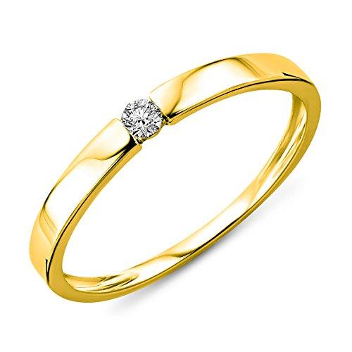 Miore Damen Gelbgold Diamant Solitär Verlobungsring 14KT (585) mit Brillant 0.05 ct