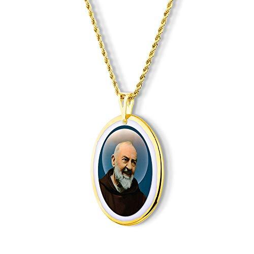 Pingente Medalha São Padre Pio de Pietrelcina Ouro