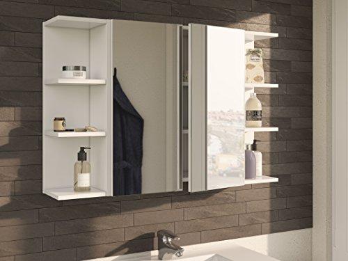HABITMOBEL CAMERINO Completo con Mueble Espejo Y ESTANTES, 100 Ancho X 65 Alto