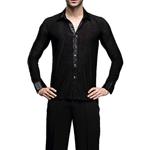 YILINFEIER Men Professional Black Noble Dark Stripe Long Sleeves Latin Salsa Samba Chacha Modern Dance Shirts (L, Lapel Collar)