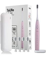 電動歯ブラシ-TeLife-歯ブラシ-音波歯ブラシ 急速充電 50日間磨き 5つのモード 替えブラシ5本 収納ケース付き 18カ月保証 ランニングコスト低い 日本語説明書付き