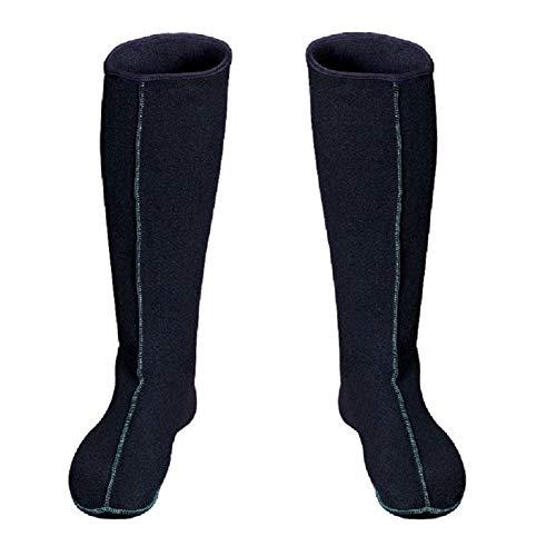 3Kamido Filz Stiefel Socken Innenschuhe Innenstiefel für Regenstiefel LANG Damen Herren Socke ERW,RMUNGSEINLAGE AUS Filz Thermosocken, Schwarz, 46 EU