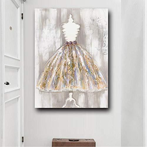 TBWPTS Canvas Schilderij Moderne jurk kunst olieverfschilderij op doek met de hand verf muur decor foto woonkamer huisdecoratie cadeau