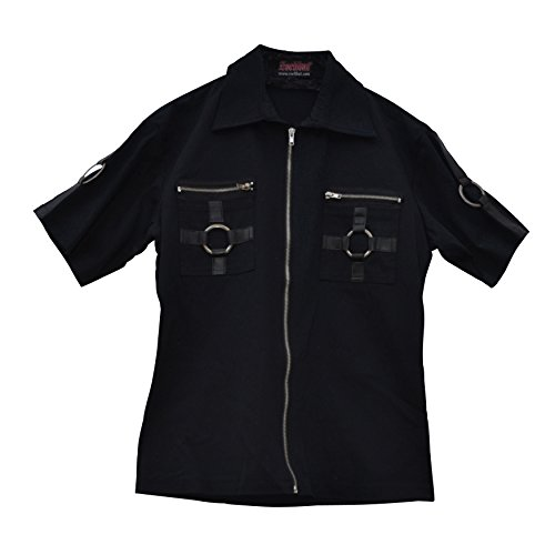 Photo of Zoelibat 14099905.008M Men's Gothic Steampunk Short Sleeve Shirt with Zippers and Metal Size M slim, black