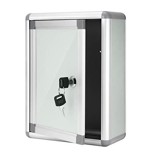 HZPXSB Buzón de Correos Decorativo de aleación de Aluminio con Bloqueo para Pared, Caja de presentación pequeña con Bloqueo Colgante, para Correo Postal montado en la Pared (Color : Silver)
