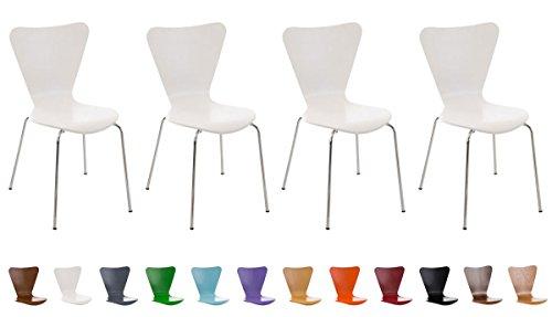Set de 4 Chaises Moderne CALISTO - Chaise Visiteur Ergonomique et Solide Piètement Stable Chromé - Chaise pour Zone d'Attente ou Salle à Manger - Chaise de Cuisine - Couleurs au Choix:, Couleurs:orange