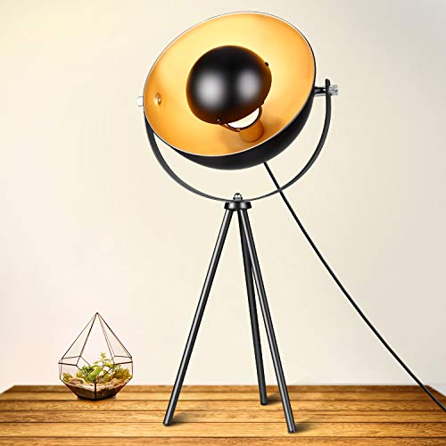 Albrillo tafellamp vintage - retro design tafellamp met E27 fitting, Ø 28 cm studiolamp en max. 40W gloeilamp, stabiel statief, 2,2M kabel, metaal, zwart goud, voor woonkamer, kantoor, slaapkamer