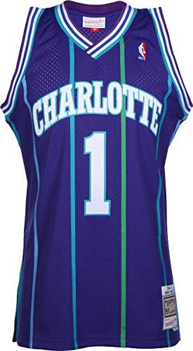 Mitchell & Ness Charlotte Hornets Muggsy Bogues 1 Purple Replica Swingman Jersey 2.0 NBA HWC Basketball Trikot