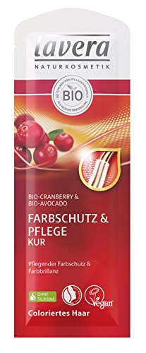 lavera Haar Kur Farbschutz & Pflege ∙ Cranberry & Avocado ∙ Colorierte Haare ∙ vegan ✔ Bio Haarkur ✔ Natural & innovative Hair Care ✔  Naturkosmetik ✔ Haarpflege 10er Pack (10 x 20 ml)