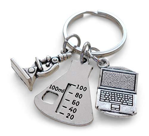 Microscope, Lab Beaker, Computer Laptop Charm Keychain, Chemistry Science Laboratory Keychain