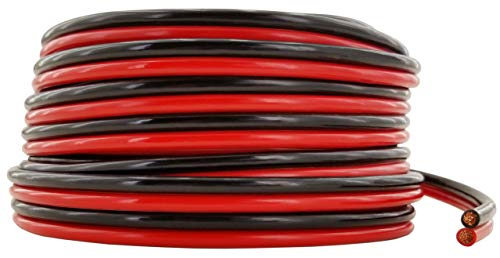 GS Power Flexible 10 AWG (American Wire Gauge) 50 Feet Stranded Oxygen Free Copper Red/Black Bonded Zip Cord Cable for Car Audio Stereo Amplifier 12Volt Automotive Harness LED Light Wiring