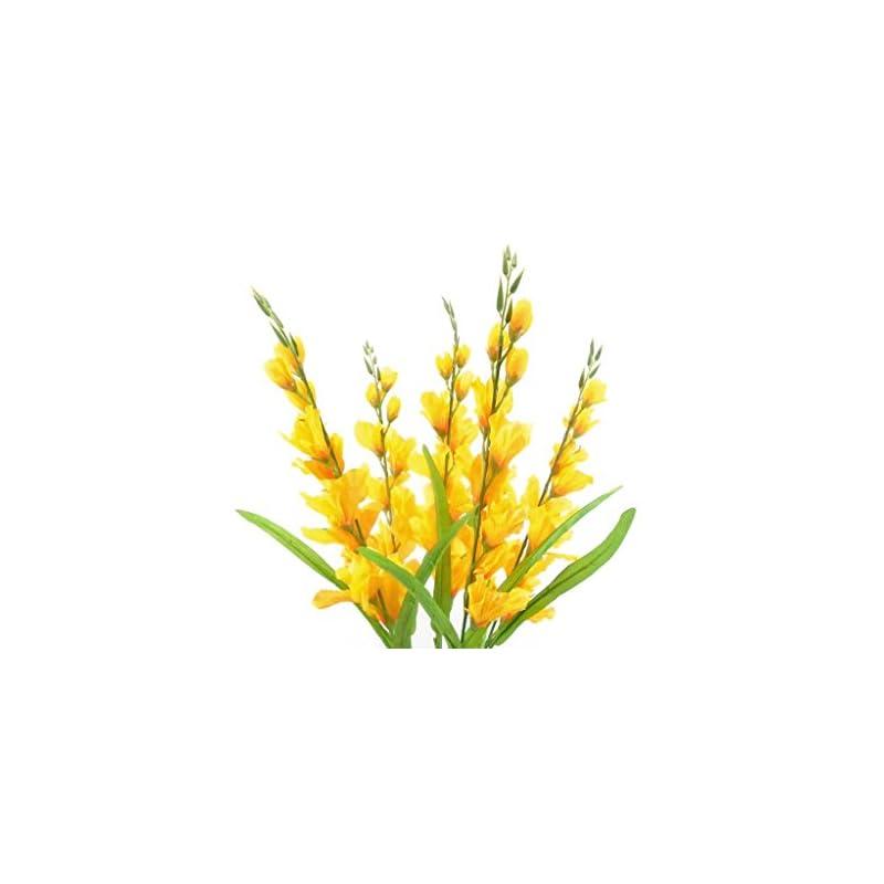 "silk flower arrangements gladiolus bush artificial silk flowers 26"" bouquet 5-5971 yellow"