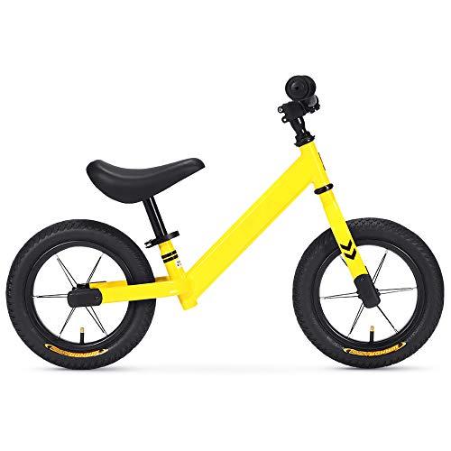 12 Pulgadas Bicicleta Infantil Sin Pedales,Bicicleta Sin Pedales de Acero con Alto Contenido de Carbono con Asiento Ajustable,Balance Bike para NiñOs de 85-115 cm/amarillo / 90x56cm