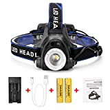 IMAGE Headlamp,4 Lighting Modes Super Bright LED Waterproof Head Torch Headlight,Adjustable Head Flashlights with 2 Pack 18650 Rechargeable Battery for Camping Hiking Fishing Running