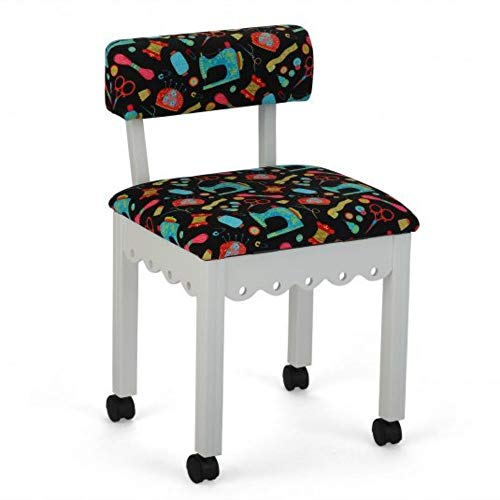 Arrow 7011B Wood Sewing and Craft Chair with Gingerbread Design and Under Seat Storage, Print Upholstery Fabric by Riley Blake, White with Black Notions Print Fabric