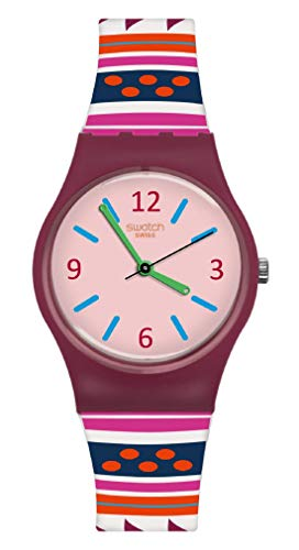 Swatch Damen Analog Quarz Uhr mit Silikon Armband LP152
