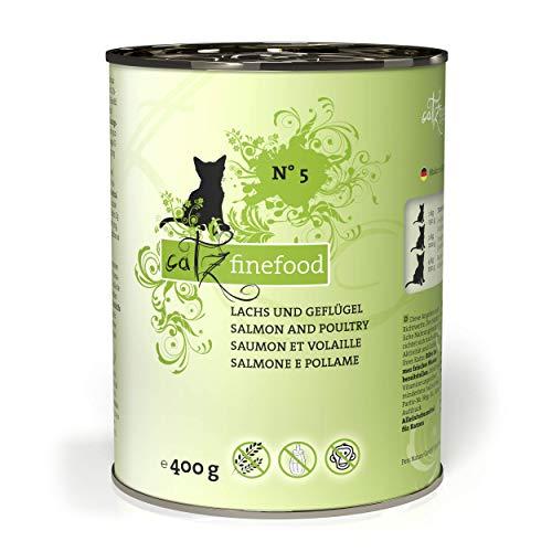 catz finefood N° 5 Lachs & Geflügel Feinkost Katzenfutter nass, verfeinert mit Spinat & Tomate, 6 x 400g Dosen