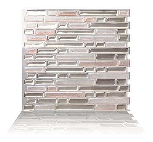 Tic Tac Tiles 25cm x 25cm 10 stück 3D selbstklebende Fliesenaufkleber Mosaik Wandfliesen Küche Spritzschutz Badezimmer - Como Sand (Grau Beige)