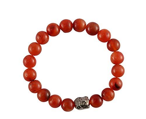 Aatm Gemstone Carnelian Buddha Charm Bracelet Stone for Motivation (Beads Size - 7-8 mm)