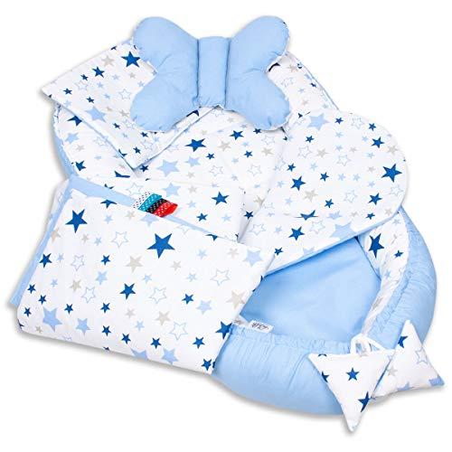 5-tlg. PALULLI Baby Ausstattung-Set, Kuschelnest, Babynest 95x55cm, herausnehmbarer Baby-Matratze, Kuscheldecke, Flachkissen, Nackenkissen, 100% Baumwolle OEKO TEX (MilkyWay)