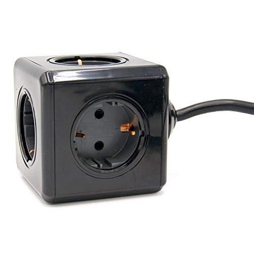 PowerCube Schwarze 5er-Mehrfachsteckdose Extended mit 3m Kabel - Stilvolle Steckdosenleiste mit 5 Steckdosen mit grauer Kontaktstelle - TÜV-getester Mehrfachstecker