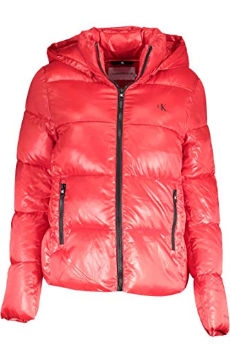 Calvin Klein MW Shiny Short Puffer Chaqueta, Red Hot, L para Mujer