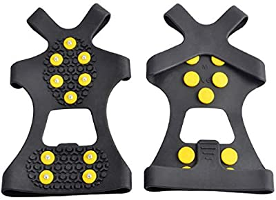 WAYPOR Ice Grips, Traction Cleats, Ice Cleat, Easy Slip On, Outdoor Durable, 10 Steel Studs, Stretchable, Prevent Slipping from Ice/Snow (Medium)