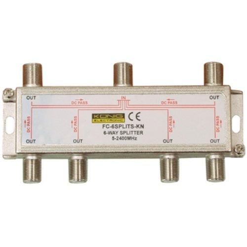 Konig Satellite 6 Way Splitter F-Connector [FC-6SPLT-ST-KN]