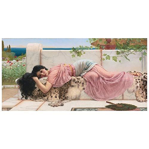 LegendArte Stampa su Tela - When The Heart Is Young - John William Godward cm. 50x100 - Quadro su Tela, Decorazione Parete