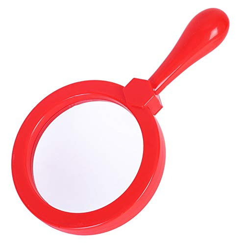 Kids Magnifying Glass Handheld Jumbo Magnifiers with Stand, Exploration Play Reading Magnifier for Children, 5X Magnification Loupe (Ages 3+) (Red)