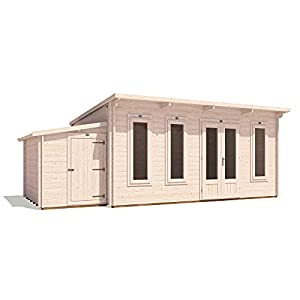 Log Cabin with Side Storage Room 6.5m x 3.5m