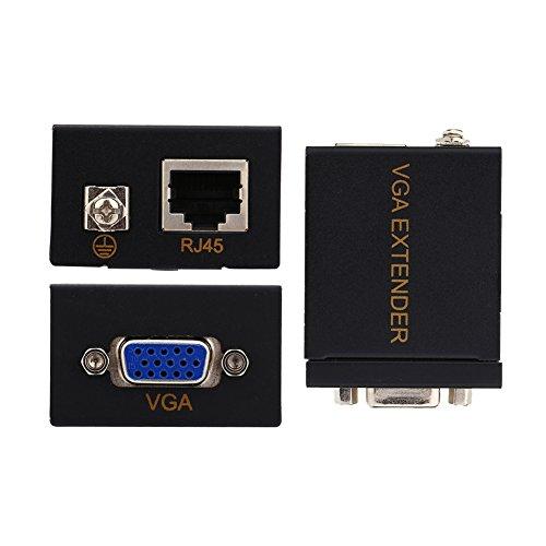 Extensor VGA de 60 m, RJ45, Cat6, Cat5, cable Ethernet, extensor de señal VGA, adaptador repetidor (1 transmisor + 1 receptor)