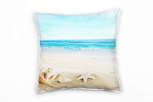 Paul Sinus Art strand en zee, beige, turquoise, schelpen, zand decoratief kussen 40x40cm voor bank bank bank lounge sierkussen - decoratie om je goed te voelen