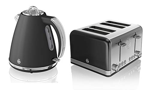 Swan, STP7041BN, Retro 1.5L Jug Kettle & 4 Slice Toaster, Stainless Steel, 360 Degree Base, Electronic Browning Control, Slide-Out Crumb Tray (Black)