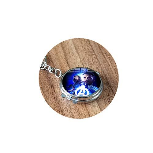 Bab Marvel Avengers Infinity War Collier avec pendentif en forme de cabochon en verre fait main avec 2 miroirs pliants de voyage portable compact poche cosmétique rond