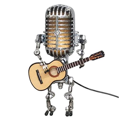 VOUNEDA Lámpara Robot micrófono,lámpara Mesa atenuador táctil Robot micrófono Vintage,Arte Metal,luz Nocturna,lámpara Escritorio Robot la decoración la Sala de Estar del Dormitorio del hogar