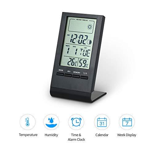 STHfficial Digitale mini-thermometer, hygrometer, binnentemperatuur, vochtigheidsmeter, klok, weerstation, weergavewaarde max.