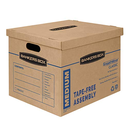 Bankers Box SmoothMove Classic Moving Boxes, Tape-Free Assembly, Easy Carry Handles, Medium, 18 x 15 x 14 Inches, 8 Pack (7717201)