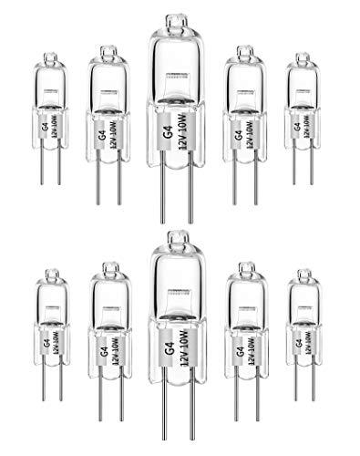 10 ampoules halogènes G4 10W 12V blanc chaud 2700K capsule transparente à intensité variable