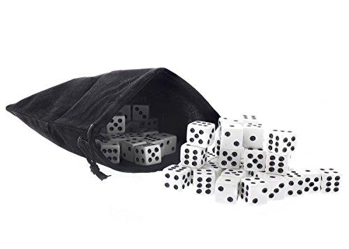 Juvale Dados a Granel - 100 Piezas de Este Conjunto - 16 mm Dados con los Dados Bolsa - Negro y Blanco Tradicional de los Dados por los Casinos, Juegos de Mesa, Juegos de Dados - 5 / 8- Pulgadas
