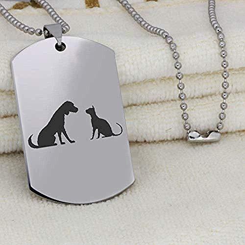 CAISHENY Collar con Colgante de Amigos de Acero Inoxidable 316L, Collar de Perro y Gato, Regalo de joyería para Amigos