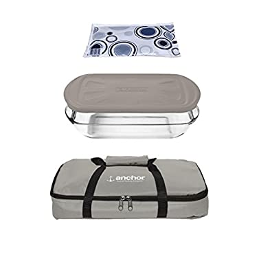 Anchor Hocking Oven Basics 4Piece Bake-N-Take Bakeware Set, Pepper Gray