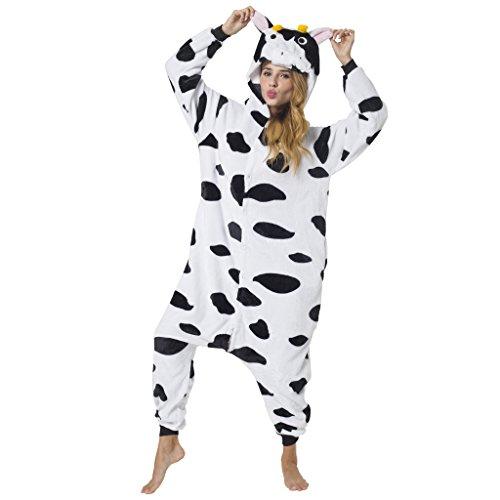 Katara-(10+ Modelos) Kigurumi Pijamas Disfraz de Animal Halloween Carnaval, Adultos, Color vaca, Talla 145-155cm (1744)