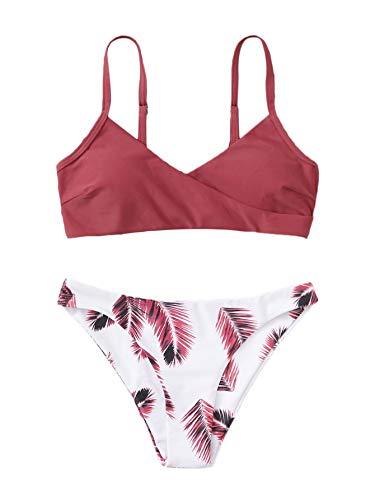 SweatyRocks Women's Sexy Swimsuit Leaf Print Padded Bathing Suits Adjustable Straps Bikini Set Burgundy-1 S