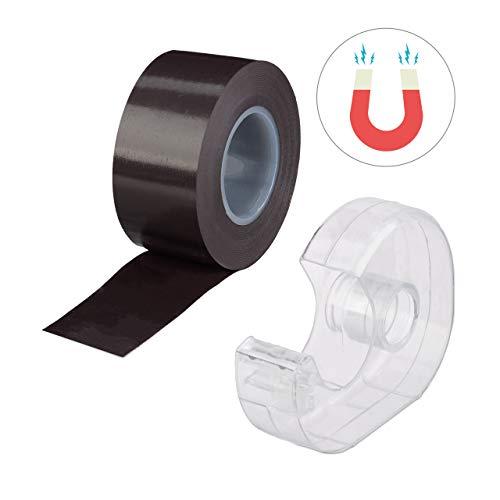 Relaxdays, zwarte magneetband 5m, met roller, zelfklevend plakband, magneetstrip, voor whiteboard & koelkast, 5 m