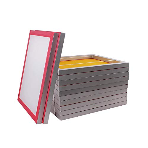 "20"" x 24"" Aluminum Silk Printing Screens Pre-Stretch Meshed Aluminum Frame - 6 Packs (200 Yellow Mesh)"