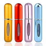 ZOEON Mini Flacons de Parfum, 5ml Portable de Voyage Atomiseur Pulvérisation Flacon de Parfum Rechargeable(4 Pièces)