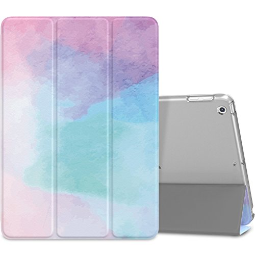 MoKo Case Fit 2018/2017 iPad 9.7 5th / 6th Generation, Slim Lightweight Smart Shell Stand Cover with Translucent Frosted Back Protector Fit Apple iPad 9.7 Inch 2018/2017, Water Color(Auto Wake/Sleep)