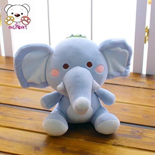 DONGER Poupée éléphant, Doux Sommeil, Poupée Rose Fille Confort, Bleu Ciel, 38Cm